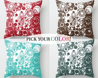 Decorative Pillow, AbstractThrow Pillow, Pillow Cover and Insert, Red Blue White Green Orange Brown Yellow Pink, Circle Pattern Pillow