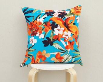 Tropical pattern pillow cover , Sky Blue Linen pillow Case, Tropical cushion 02