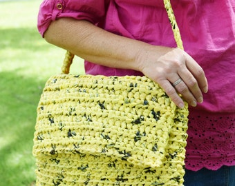 Crocheted Purse with Strap, made of Upcycled (repurposed) Plastic Bags, Plarn Bag,  Yellow and Black Handmade Shoulder Bag