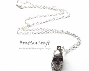 Rustic Silver Skull Necklace - Skull Necklace - Halloween Necklace - Day of the Dead - Halloween Jewelry - Skull Jewelry - Samhain