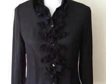 Black silk blouse, silk top, black top, romantic top, steampunk top, ruffled blouse