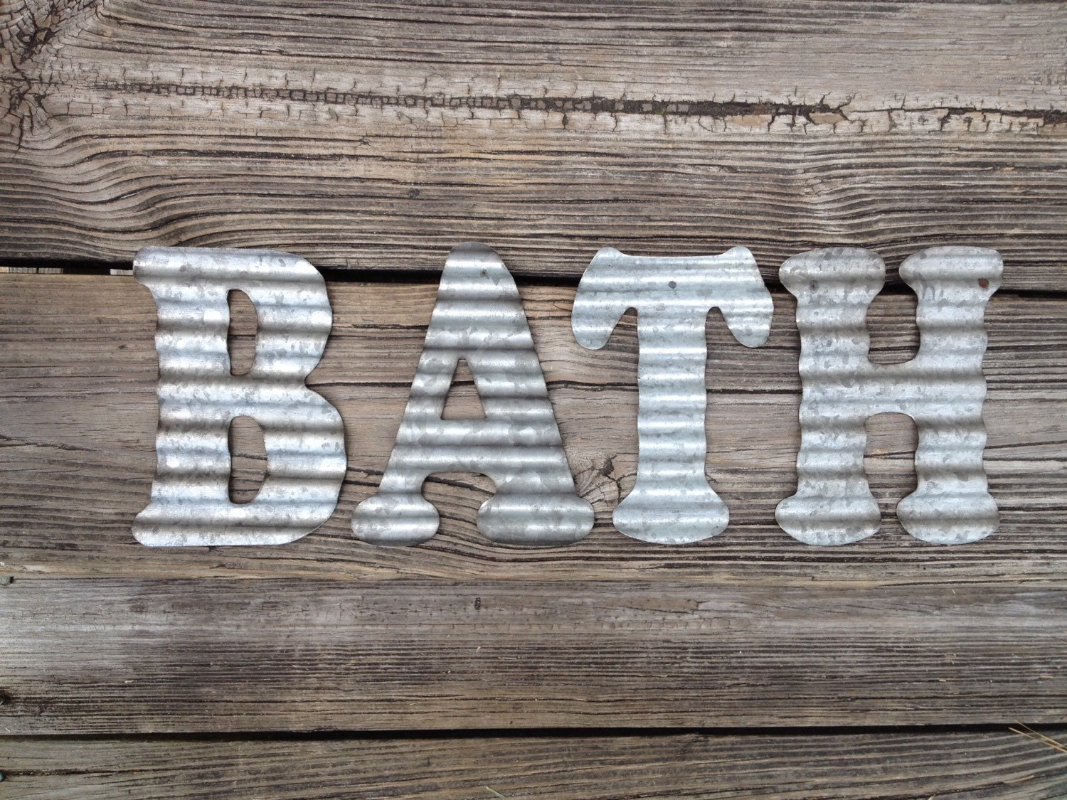 Galvanized Metal Letters Bath Industrial Wall Decor Country