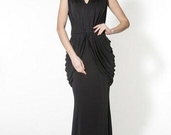 Black evening dress Long formal dress Feminine dress with drapery.