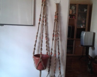 "FREE SHIPPING-Set of 2 large jute plant hangers 62"" 58"",hanging planters,indoor/outdoor,bird feeder,natural rope pot holders"