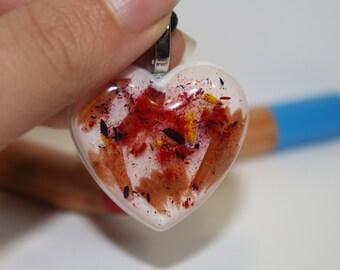 Resin necklace. Heart necklace. Pencil necklace. Resin charm. White heart pendant. Pencil flakes pendant. Pencil powder necklace. Handmade.