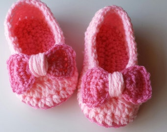Princess Aria: Crochet Little Girls Slippers Little Oma Slippers for Kids Slippers with a Bow Childrens Slippers Made to Order