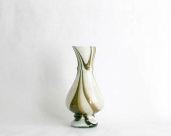 Vintage Murano Glass Marbled Effect Vase - White & Brown Venetian Art Glass
