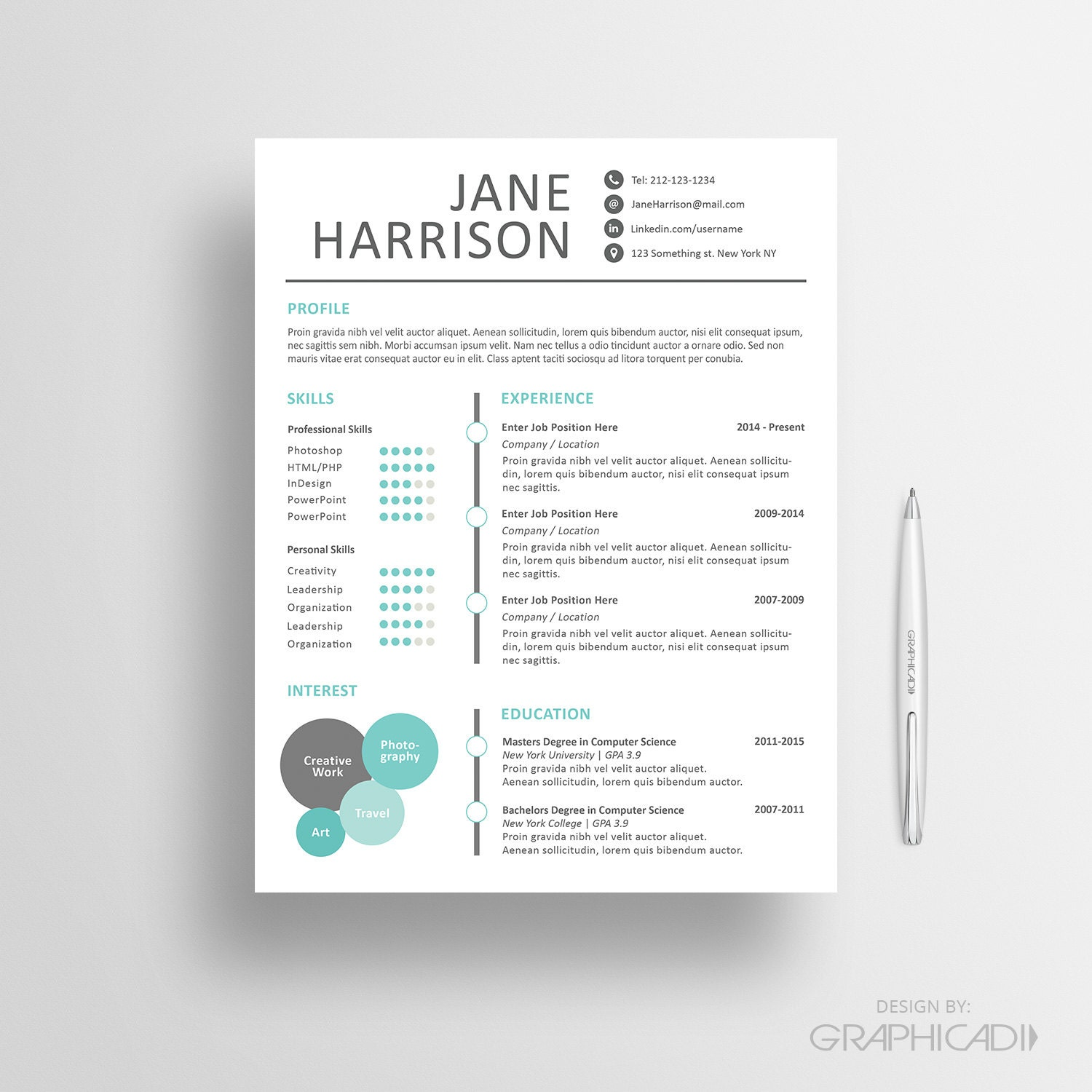 creative resume template cover letter word resume by graphicadi