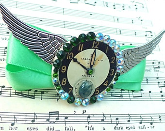 "Gift for her, gift, Steampunk Hair Clip, Steampunk Hair Clip, Wing Hair Clip, Wing Barrette, Green Hair Clip ""Sea Green Flight Through Time"""