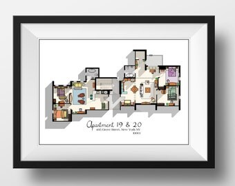 Friends TV Show Apartment Floor Plan- Friends TV Show Layout- The one with the floor plan-Apartment of Joey,Chandler,Monica and Rachel