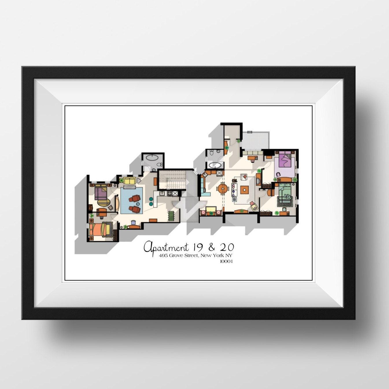 Friends tv show apartment floor plan friends tv show layout for Apartment layout planner