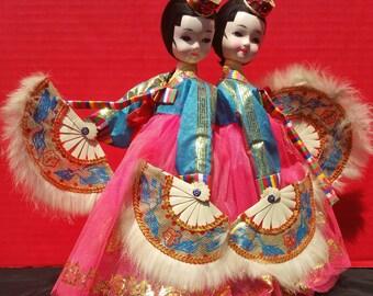Vintage Korean Fan Girl Sisters