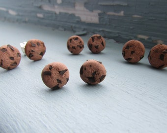 Chocolate Chip Cookie Polymer Clay Stud Earrings
