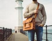 "Messenger Bag Men, 13"" Leather Men's Briefcase, Laptop Bag, Work Bag, Handmade Cross-body Bag, Retro Metropolitan Fashion, Urban Style, Gift"