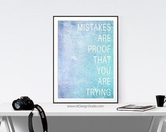Classroom Decor Mistakes Are... Inspirational Quote Typography Print Printable Poster Motivational Quote Classroom Wall Art Christmas DT98