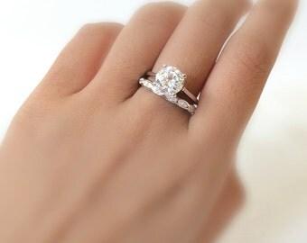 2.48 ct.tw Bridal Set Engagement Ring-Brilliant Cut Diamond Simulants-Wedding Ring w/ Eternity Band-925 Sterling Silver [61353-2-3]
