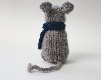 Hand Knit Small Stuffed Grey Mouse with Scarf ∙ Woodland Animal Decor
