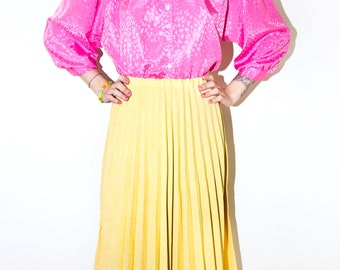 Vintage Pleated Skirt Yellow 50s Mid Century Mad Men Secretary