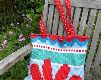 Crochet pattern bag / shopper Red Sunflower (Dutch and English US pattern)