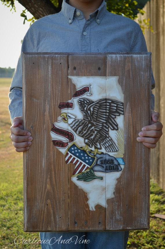 Illinois State Flag-Pallet Board-Pallet Wall Art-Rustic Barnwood Decor-Man Cave-Flags-Shabby-Reclaimed Wood-Hand Painted
