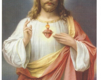 """Sacred Heart of Jesus picture Catholic Art Print  - 8"""" x 10"""" ready to frame!"""
