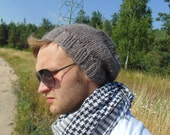100% Wool Mens Slouchy Beanie Beige Knitted Knit Brown Mans Hat Slouchy Cap Boys Chunky Wool Floppy Hat Mens Beanie Fall Beanie Teen Boy