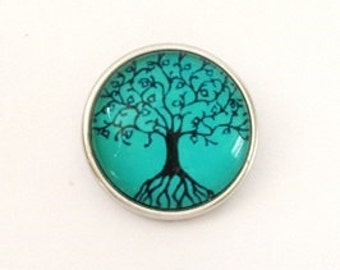 Snap Charm Tree of Life green fits Noosa, Ginger snaps jewelry and other interchangeable jewelry regular size, Christmas gifts, Gift for her