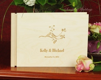 Birds Wooden Wedding Guest Book Custom Personalized Memory Book Gift Engraved