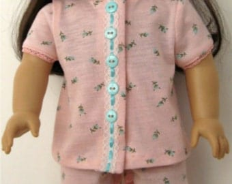 Pink Floral Summer Pajamas made to fit 18 inch dolls