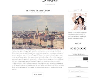 "Premade Blogger Template - Responsive - Simple, Clean, and Minimal - Customizable -  ""Aurora"" - Blogger Template Instant Download"