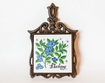 Vintage Cast Iron & Ceramic Tile Trivet with Blueberries - Kitchen Decor Wall Hanging - Blue Berry Trivet