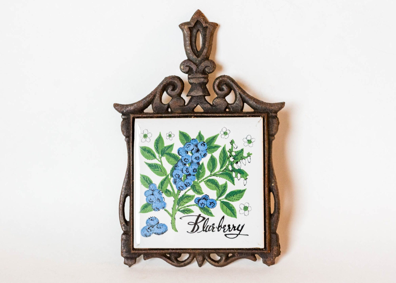 Vintage Cast Iron Ceramic Tile Trivet With Blueberries