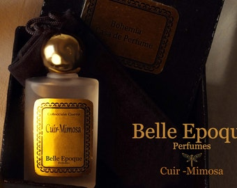 "Selective perfume 1 fl oz. Handmade. Vintage images of the fragrance.  ""Cuir Mimosa"". Exclusive perfumes handcrafted."
