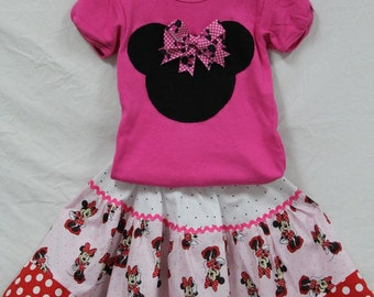 Minnie Mouse  girl outfit, Baby girl Minnie Mouse outfit,Minnie Mouse Twirl skirt, Personalized Minnie Mouse outfit, Girls Disney outfit