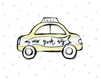 NYC Taxi Cab Art Print - Illustration