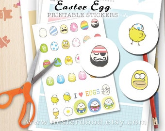 EASTER Egg Printable Sticker, Daily Lifestyle, Cute Kawaii Humpy Dumpty Moustache Painted Eggs, Diary Planner Journal Notebook, Mini Doodle,