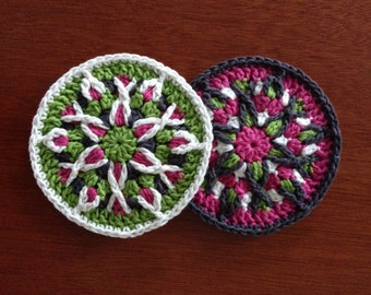 Crochet Mandala Pattern / Tutorial: Crochet Coaster Pattern, Crochet Mandala Coaster Pattern, Mandala Appliqué Pattern - Instant Download