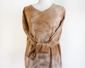 Long Sleeve Shirt - Eco Dyed Shirt - Eco Friendly Clothing - Upcycled Tie Dye Shirt - Eco Fashion - Size XXL Shirt - Brown Long Sleeve Shirt
