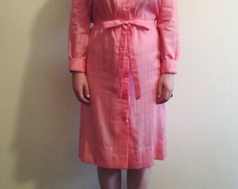 Vintage Salmon Jabot Neckline Dress