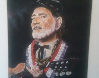 Willie Nelson  Hand Painted Portrait