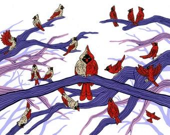 "Cardinals, Silk Screen Print (13 5/8""x10 3/8"")"