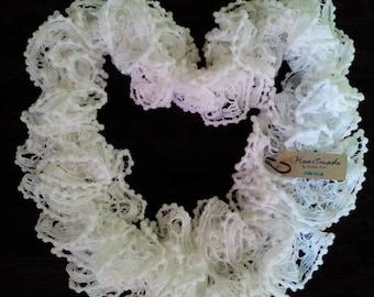 White Ruffled Knitted Scarf, Ruffle Scarf