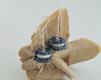 white coral earrings, white coral, long earrings, denim earrings, denim jewelry, collection denim,  denim, unique denim, jeans jewelry