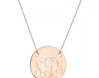 """Engraved 5/8"""" Monogram necklace - personalize gold monogram necklace 18k rose gold plated 925 silver"""