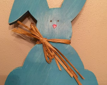 Wooden Easter Bunny with Raffia Bow