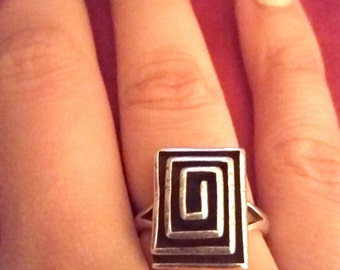Sterling Rectangle Maze Ring, Silver Maze Ring, Rectangle Ring, Sterling Rectangle Ring, Rectangular Silver Ring