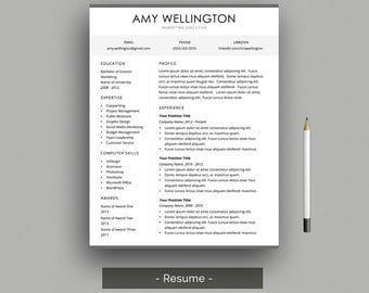 Professional Resume Template CV Template For Word With Cover