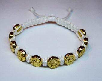 Gold St Benedict medal bracelet