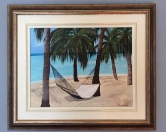 Hamac on the beach, palm trees, ocean. Carribeen.Sand. relaxation.