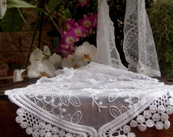 Lace Table Runner, Soft Embroidered Lace
